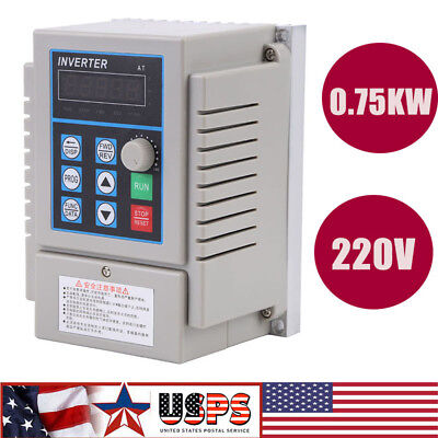 0.75kw 1hp Vfd 5a 220v Single Phase Speed Variable Frequency Drive Inverter