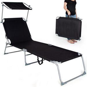 Gartenliege Sonnenliege Strandliege Freizeitliege mit Sonnendach 190cm schwarz