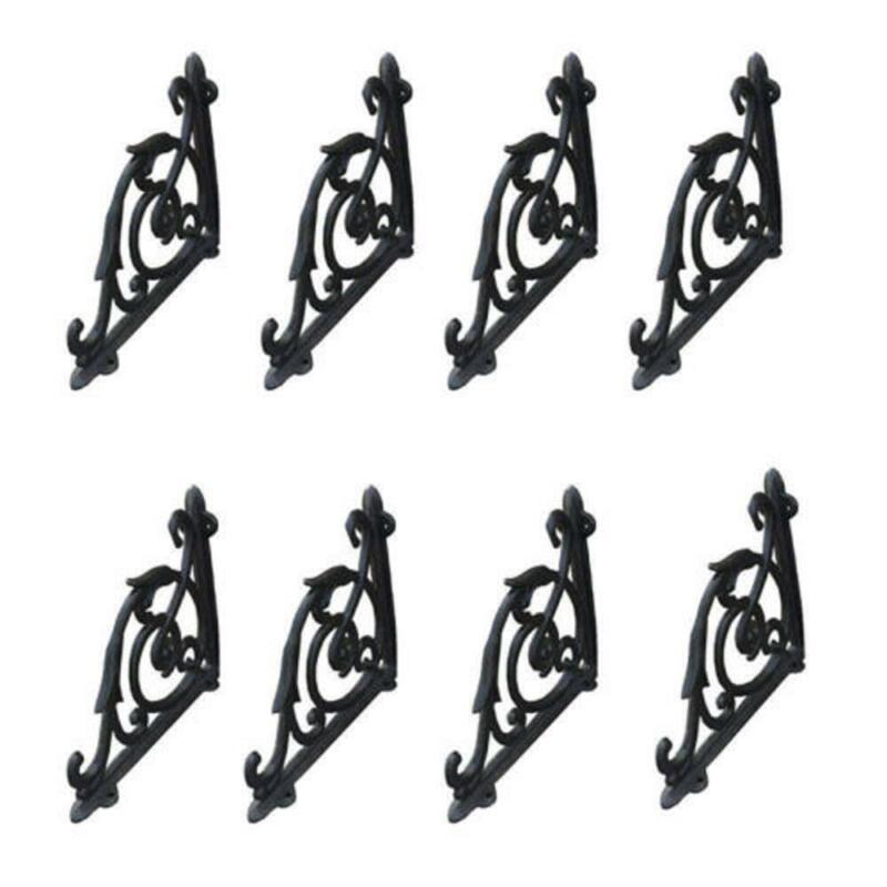 8 Pcs Cast Iron Antique Style Brackets Garden Braces Rustic Shelf Bracket Black