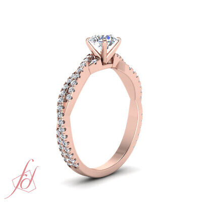 One Carat Round Cut Diamond Twisted Vine Engagement Ring For Women In Rose Gold 2