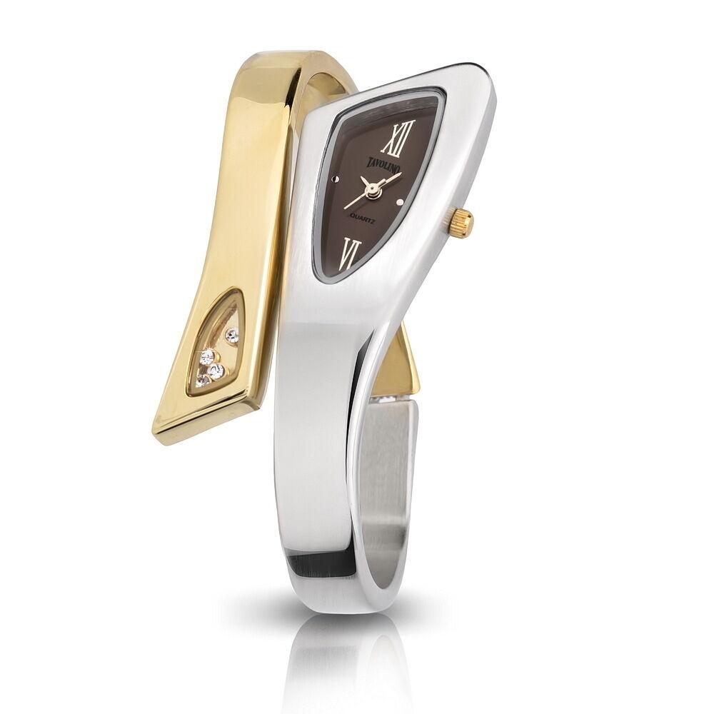 Top Edle Damen Tavolino Spangenuhr Gold Silber Braun Damenuhr Armbanduhr Uhr