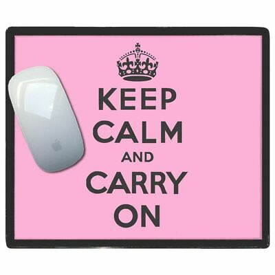 Pink Keep Calm And Carry On - Thin Pictoral Plastic Mouse Pad Mat Badgebeast