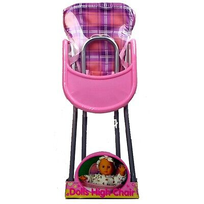 Pink Children's Doll High Chair - Dolls Childrens Toy Little Girls Toy Roleplay
