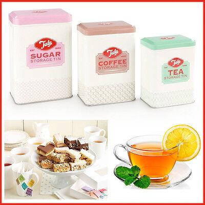 TALA 3pc Retro Tea Coffee Sugar Canister Vintage Style Food Kitchen Storage Tins