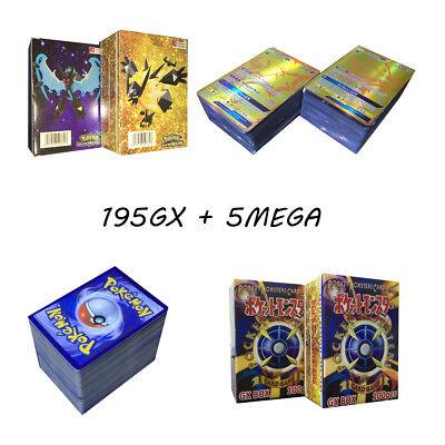 Hot Sale 200pcs 195 GX + 5 MEGA Cards Pokemon Card Holo Flash Trading GX Cards