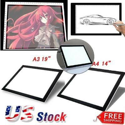 A3/A4 LED Tracing Light Box Drawing Tattoo Board Pad Table Stencil Artist 14/19""