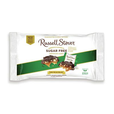 RUSSELL STOVER-Sugar Free Dark Pecan Delight Chocolate Candy*MADE w/h STEVIA* ()