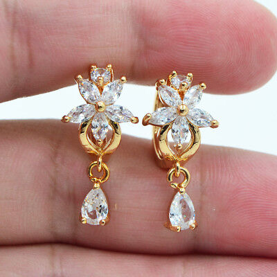 (18K Yellow Gold Filled Flower Crystal Topaz Zircon Women Hoop Earrings Wedding)