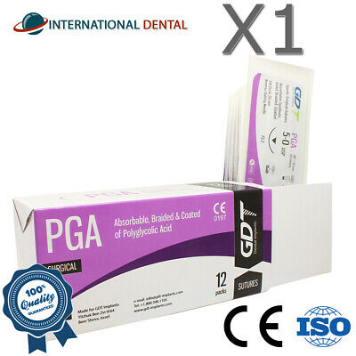 5-0 Gdt Braided Polyglycolic Acid Pga Surgical Sutures 75cm Absorbable 12pcsbox