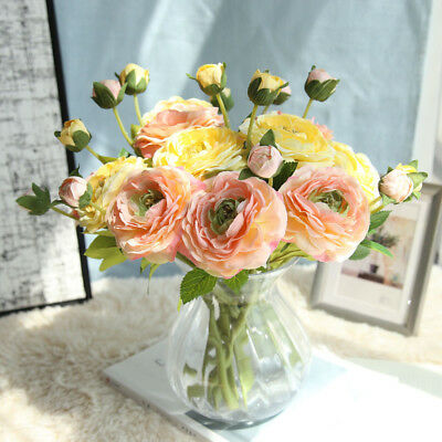 Daisy Rose Bouquet - Artificial Silk Fake Flowers Light Daisy Rose Wedding Bouquet Party Home Decor 9