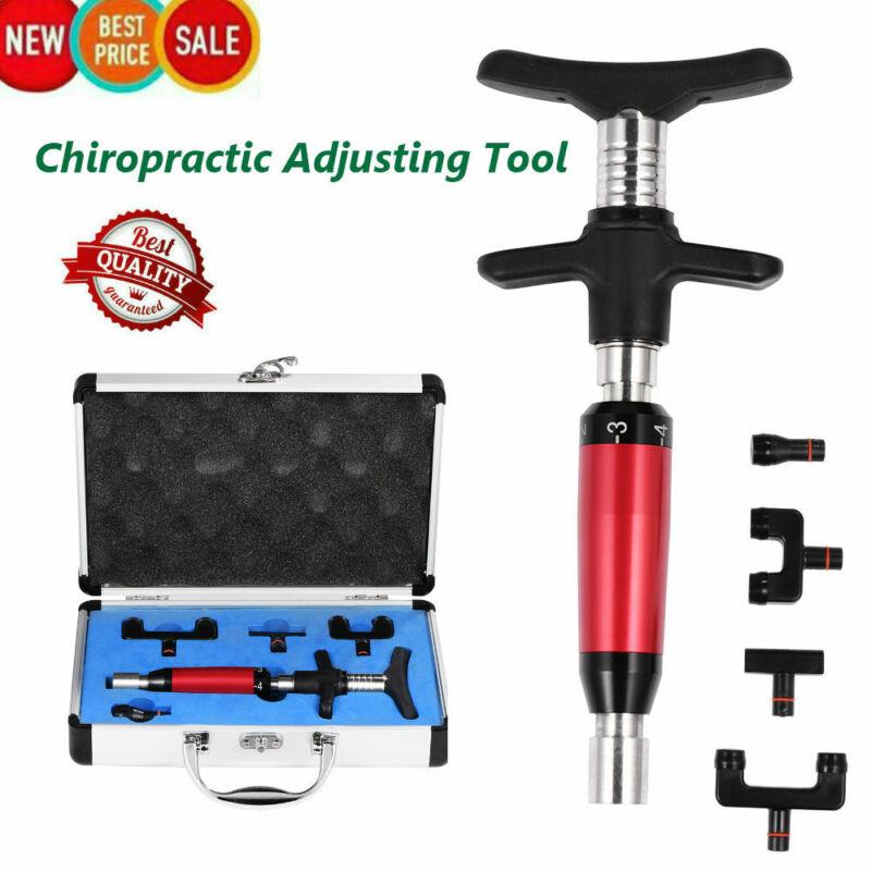 Chiropractic Adjusting Tool Spine Massage Adjusting Gun 6 Levels 4 Heads US