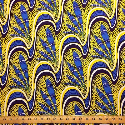 African Print Fabric 100% Cotton 44'' wide sold by the yard Feather (90106-1)