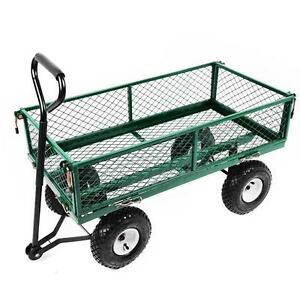 NEW Heavy Duty Metal Green Garden Cart Barrow Utility Trolley - Garden - Home