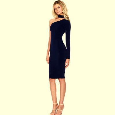High-slit Skirt (Navy Blue OFF-THE-SHOULDER HIGH SLIT SLINKY Maxi DRESS Sexy Skirt Bodycon)
