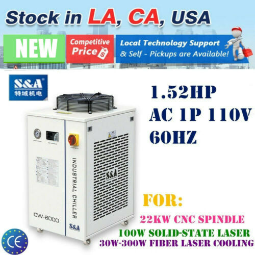 USA 110V S&A Industrial Water Chiller CW-6000DN for 30W-300W Fiber Laser Cooling
