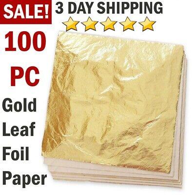 100 Sheets Imitation Gold Leaf Foil Paper for Arts Gilding Craft Decoration -