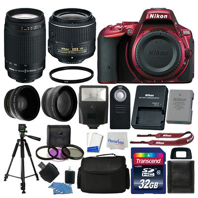 Nikon D5500 DSLR Red Camera 32GB 4 Lens Kit: 18-55mm VR + 70-300mm Best Value