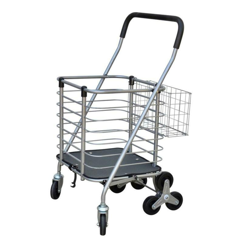 Folding Steel Easy Climb Shopping Cart Rotating 3-Wheel Design Padded Handle