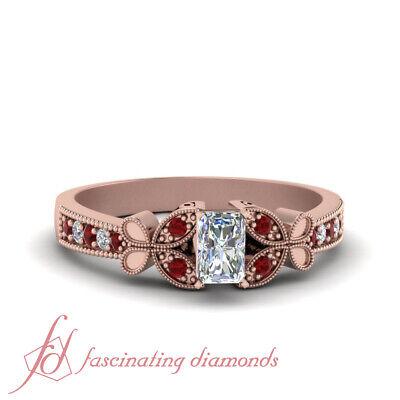 .75 Carat Radiant Cut Diamond & Ruby Gemstone Rose Gold Milgrain Engagement Ring