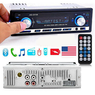 In-dash Car Bluetooth Stereo Audio MP3 Player FM Radio Handsfree Calling AUX USA