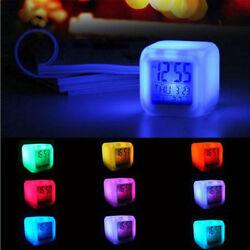 Mini Digital Alarm Thermometer Night Glowing Cube 7 Colors Clock LED Alarm Clock