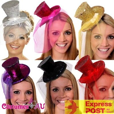 Ladies Fever Mini Glitter Top Hat On Headband Fancy Dress Costume Accessory