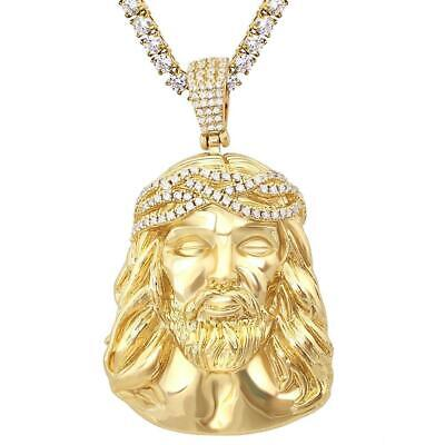 Jesus Piece Face Iced Out Pendant Hip Hop Bling Bling Charm 4MM Tennis Chain 24