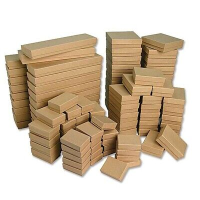 Kraft Cotton Filled Jewelry Boxes  Lots of 25-50-100 100 Kraft Cotton Filled Jewelry