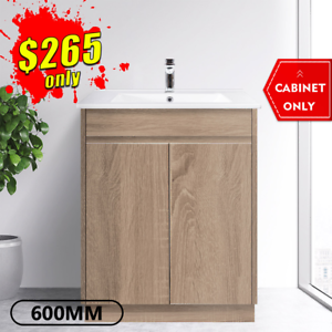 Bathroom Vanity 600mm Freestanding Timber Look Oak Cabinet LOGAN *NEW*