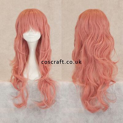 Long wavy curly cosplay wig with fringe, milkshake pink UK SELLER Charlie style - Milkshake Costume