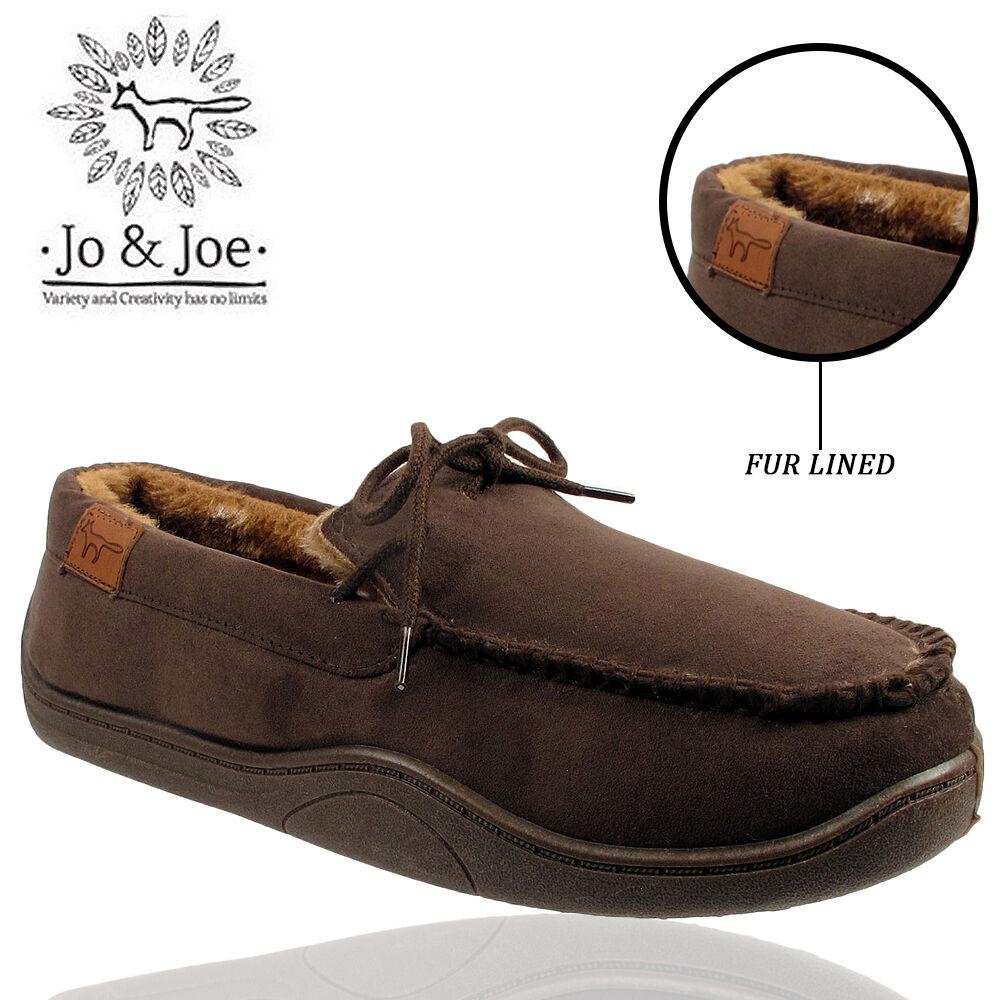 MENS JO/&JOE FUR LINED MICRO SUEDE LOAFERS COMFORT CASUAL WALKING SHOES SLIP ON