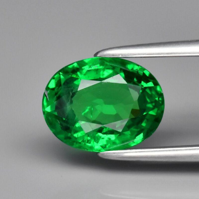 1.27ct 7.6x6mm Oval Natural Shocking Green Tsavorite Garnet, Tanzania