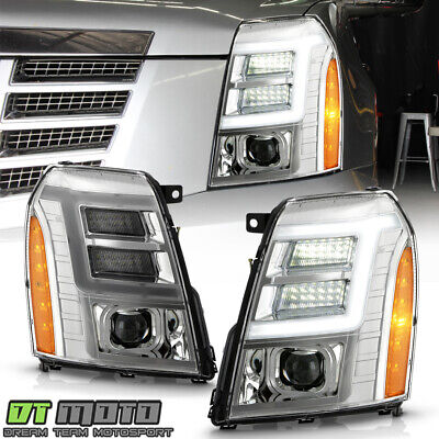 2007-2014 Cadillac Escalade HID/Xenon Model Chrome LED DRL Projector Headlights