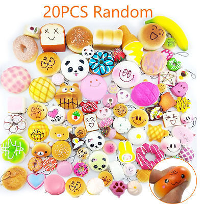 20Pcs Jumbo Mini Medium Random Squishy Soft Panda/Bread/Cake/Buns Phone Straps