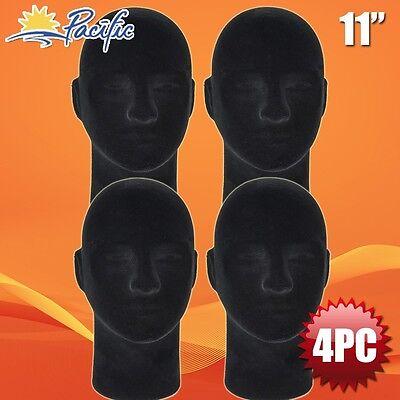 Male Styrofoam Foam Black Velvet Like Mannequin Head Display Wig Hat Glasses 4pc