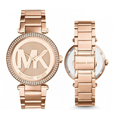 New Michael Kors MK5865 Parker Rose Gold Logo Dial Glitz Bezel 39MM Ladies Watch
