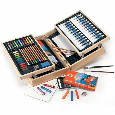 Reeves Water Colour Art Set Wooden Chest Tubes Pans Pastels and Pencils Inside