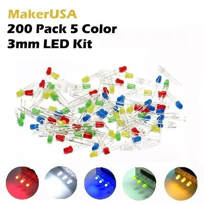 200 Pack 3mm 5 Color Led Assortment Light Emitting Diode Kit