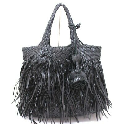 FALORNI Intrecciato Fringe Tote Bag Hand bag Black Leather