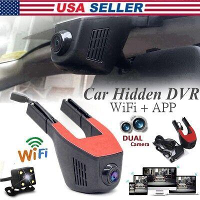 Dual Lens Wifi Dash Rear Cam FHD 1080P Hidden Car SUV DVR Dash Video Recorder US