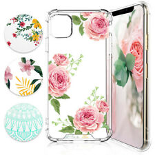 For iPhone 11/Pro/Max/XS Max/XR Phone Case Flowers Clear Slim TPU+Tempered Glass