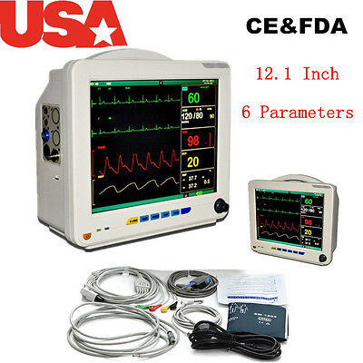Patient Monitor 6 Parameters Ecg Nibp Resp Temp Spo2 Pr Color Adjusted 12.1
