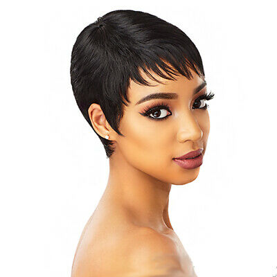 Black Short wigs for Black Women Fashion Boy Cut Hair Pixie wig with Bangs - Boy Wig