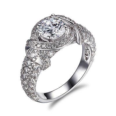 Bridal Ring Band Eternity Engagement 3 CT Round Cut Diamond 14k White Gold VS SI