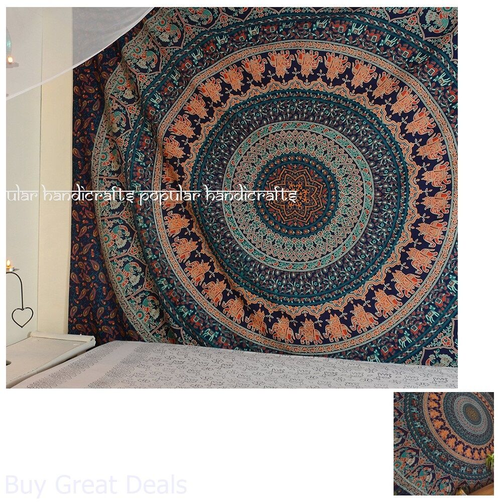 Elephant Mandala Many To Select Twin Tapestry Throw Wall Hanging Gypsy Bedspread