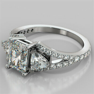2.68Ct Radiant Cut Split Shank Engagement Ring in 14K White Gold Size (Radiant Cut Three Stone Diamond Engagement Rings)