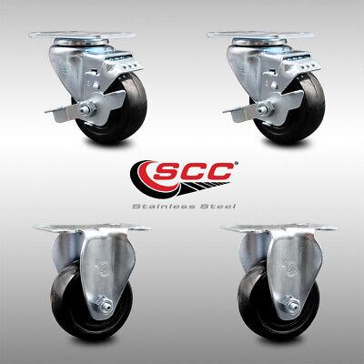 Ss Hard Rubber Caster Set Of 4 W3 Wheels - 2 Wbrakes 2 Rigid