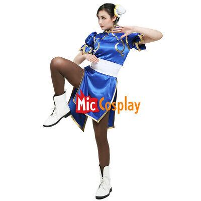 Chun Li Cosplay Costume for Adult Blue Cheongsam Halloween Dress Women Outfit - Costume For Halloween