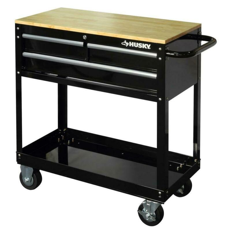 Husky Rolling Tool Cart Black 36 in 3 Drawer Solid Wood Top