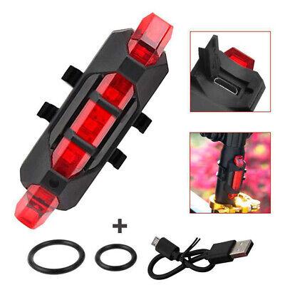 Luz 5 LEDs Trasera Bicicleta Batería Recargable USB Flash Impermeable Noche Rojo